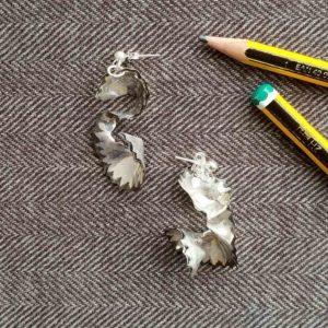 Pendientes de plata Virutas Lápiz largos | Tana tienda online