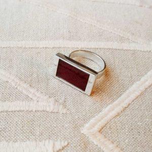 Anillo de plata rectangular cornalina | Tana tienda online