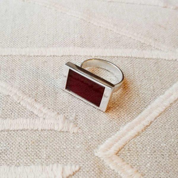 Anillo de plata rectangular cornalina   Tana tienda online