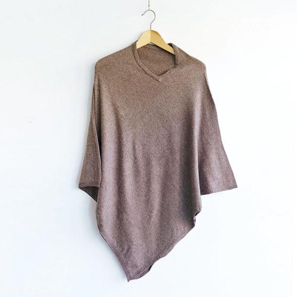 Poncho de cashmere marrón | Tana tienda