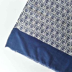fular de lana print azul