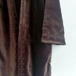 Abrigo kimono de terciopelo marron