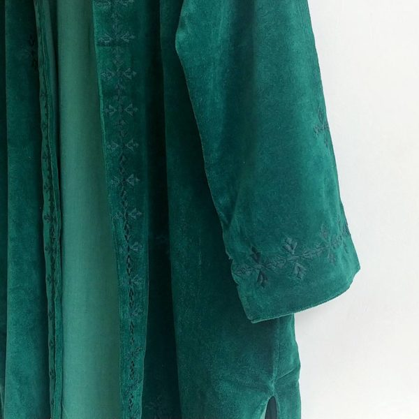 Abrigo kimono de terciopelo verde