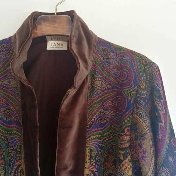 tana abrigo kimono lana marron verde