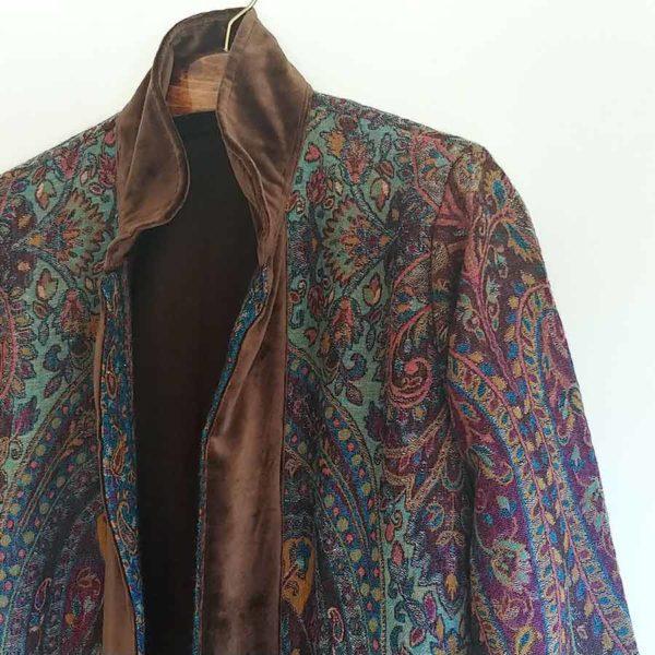 Tana abrigo kimono lana marron morado