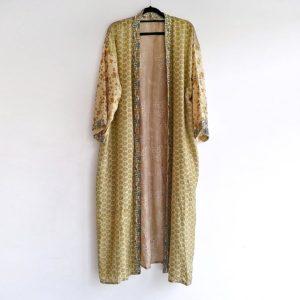kimono vintage seda mostaza