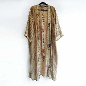kimono vintage seda ocre