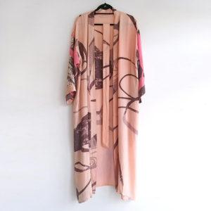 kimono vintage seda salmon