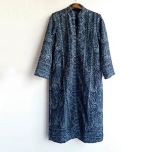 abrigo casaca de lana azul
