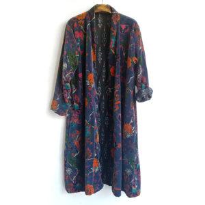 Abrigo kimono de flores azul