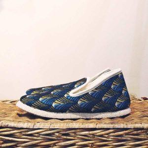 pantufla azul forrada con lana